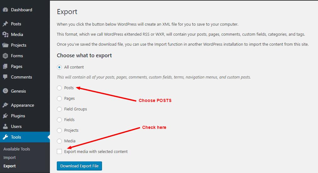 Wordpress Beiträge exportieren
