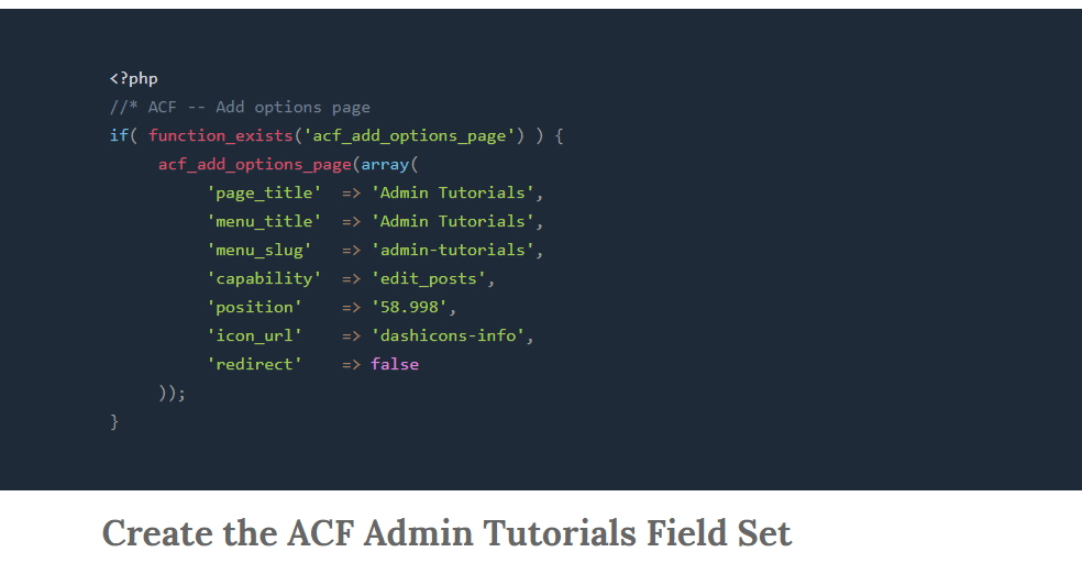 Video Tutorials Section with ACF